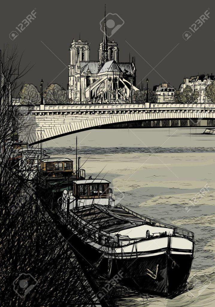 21378194-illustrazione-vettoriale-di-fiume-parigi-seine-con-chiatte-Île-de-la-cité-e-notre-dame-disegno-a-mano-